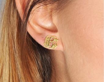 Gold Monogram Earring-Tiny Earring-Custom Jewelry-Gold Monogram Jewelry-Bridesmaid Gift-Personalized Gift-Personalized Jewelry