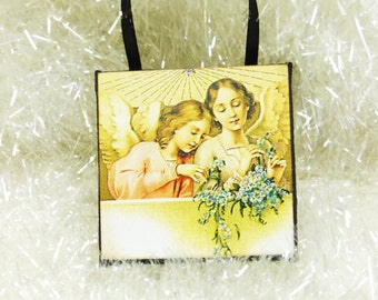 Golden Angels Miniature Art Ornament, Garden Angels with Blue Flowers Tiny Wall Hanging