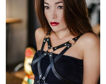 Women Leather Harness Bra