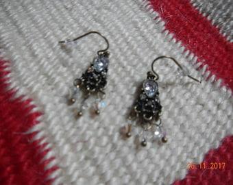 Petite Old Gold-tone Swarovski Crystal Chandelier Earrings