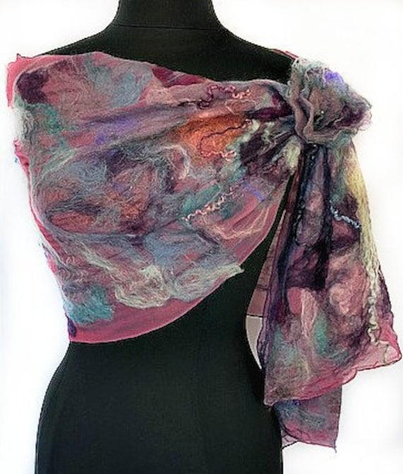 Burgundy Felted Wrap, Silk Felted Scarf, Multi-colored wrap, Nuno Scarf, Giftforher, Garden Wedding/Bridal Accessories, GracefulEweFiberArts
