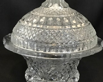 Vintage Candy Dish Clear Glass Beautiful Mid Century Vintage Cut Glass Ornate Victorian Cottage Chic
