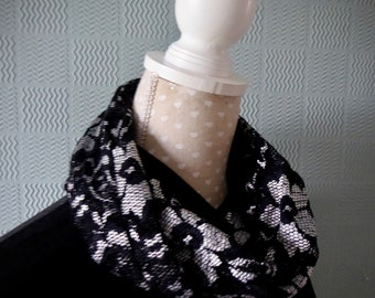 Black lace cowl, lace snood scarf, flowered loop scarf, black and white flowered cowl
