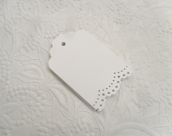 25 White Lace Gift Tags-Hang Tags-Price Tags-Blank-Craft Punch-Doily Lace