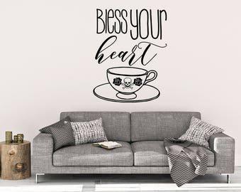 Bless Your Heart Teacup - Wall Decal - Teacup Wall Decal - Skull Decal - Bless You Wall Decal - Wall Art - Home Decor