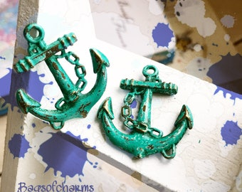 Handpainted Verdigris Patina 3D Anchor metal charms (18034) - 30x26mm