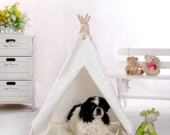 Plain white canvas dog teepee with padded mat,pet teepee,dog tent