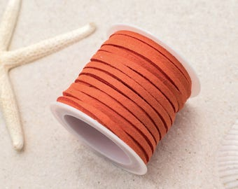 Suede Cord, 3mm Flat Cord, 5 Meters,   Jewelry Cord, Orange -S8