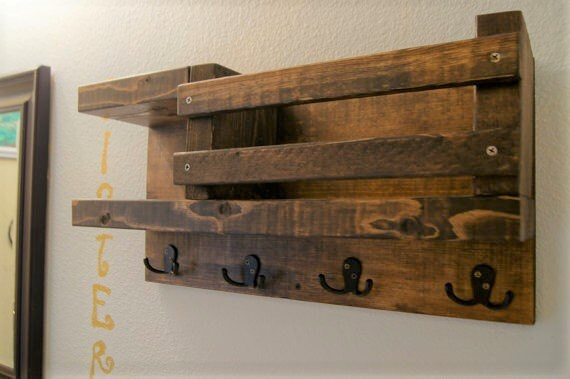 Bath Towel Shelf Bathroom Wood Rack Hook Rustic Storage Floating Modern