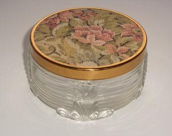 Art Deco Dresser Jar with Brocade Lid