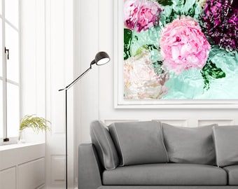 Large Wall Art, Floral Art, Flower Art, Peony Art, Contemporary Art, Modern Art, Jessica Kenyon, Abstract Wall Art, Pink Art,