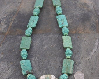 Handmade Nepalese Turquoise and Brass Focal Bead Artisan Necklace with Turquoise Bead Strand