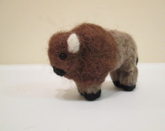 Felted Bison Doll - Needle Felted Animal - Bison Miniature