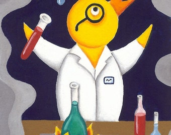Mr. Chicken Plays With His Beaker (ORIGINAL PAINTING)