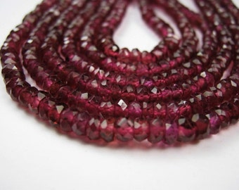 Rhodalite Garnet Gemstones. Faceted Rondelles, 4mm. Semi Precious Gemstone Rondelles. 6 inch strand . (2GN)