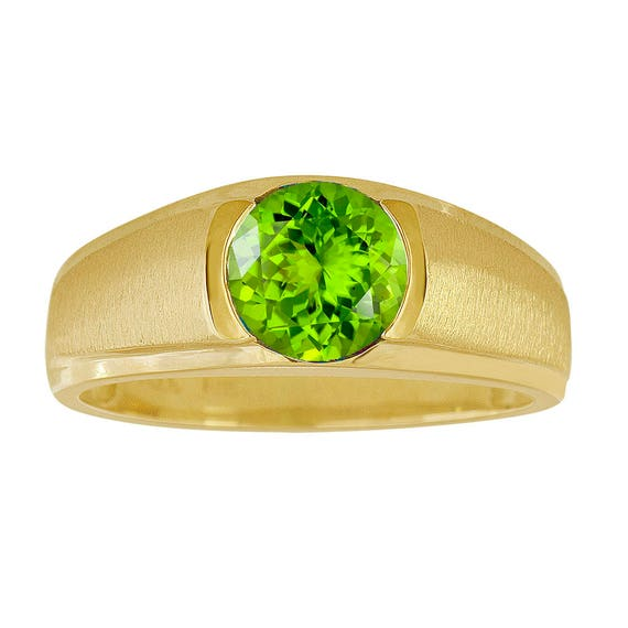Classic Gold Peridot Ring Mens Peridot Ring Yellow Gold