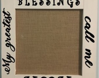 Customizable memo board, photo display, burlap and cork board, family wall decor, greatest blessings, shabby chic, home decor, office