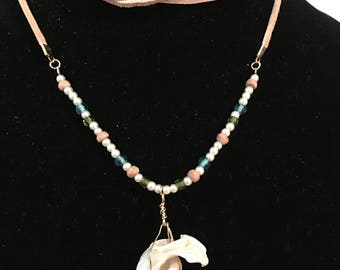 natural shell and blue bead necklace, adjustable length, leather strap