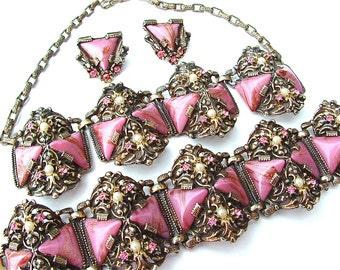 SELRO Lavender Rose Pink Jewelry Set Parure Necklace Bracelet Earrings Designer Vintage