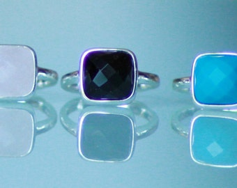 Ring adjustable 925 Silver and turquoise, agate, aventurine, howlite and rose quartz