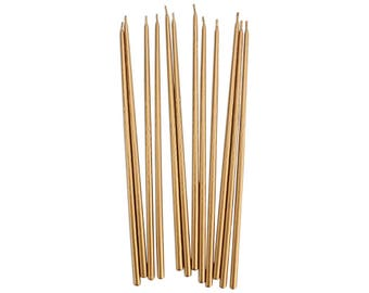 Tall Gold Hand Dipped Birthday Candles -  12 long metallic gold party birthday cake candles