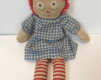 Vintage Handmade Raggedy Ann Doll Rag Doll