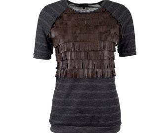 Leather fringe top with raglan sleeves, short sleeved fringe tshirt, sizes S-XXL