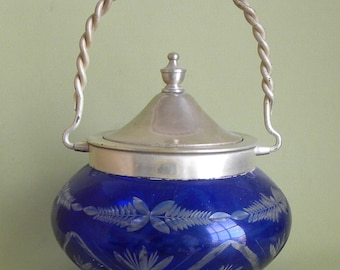 Bohemian Glass Covered Biscuit jar