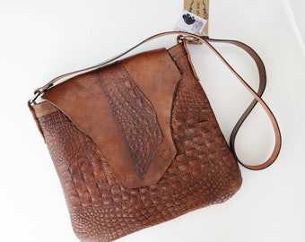 Alligator Embossed Leather and Cowhide Hand-dyed Handbag - One Of A Kind