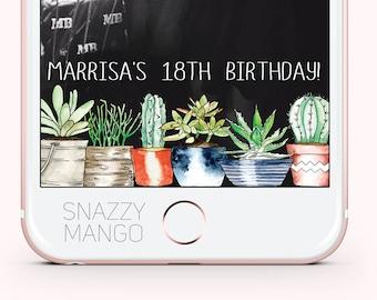 Cactus Birthday Snapchat Geofilter, Cacti Geofilter, Succulent Geofilter, Personalised Birthday Snapchat Filter, Cactus Geofilter, Cacti
