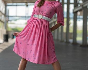 Vintage Bubble Gum Pink Dress (Size Small)