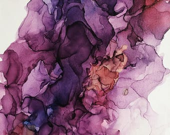 "Original Alcohol Ink on Stretched Canvas - 16x20"" - Wine"