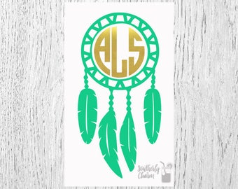 Dreamcatcher Decal, Dreamcatcher Monogram, Vinyl Decal, Yeti Decal, Car Decal, Gifts for her, Phone Decal, Laptop Decal, Yeti Cup