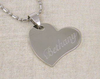 Personalized Heart Necklace Engraved Silver Heart Pendant with Custom Name or Initials Stainless Steel |2226