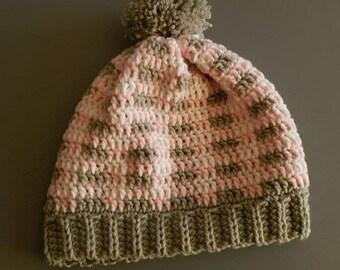 Crochet pink plaid slouchy hat with pom pom