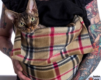 Pet Sling, Lucky's Plaid Fleece Sphynx Cat Bag. Hands free. Donates to HCM Research PLCY
