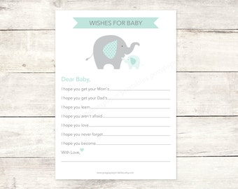 wishes for baby shower printable DIY elephants sage green grey cute baby gender neutral digital shower games - INSTANT DOWNLOAD