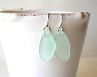 AQUA Sea Glass Earrings, Beach Glass Dangle Earrings, Sea Glass Drop Earrings, Sea Glass Jewelry, Beach Earrings, Sea Glass Sterling Silver