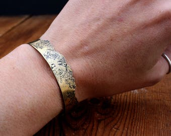 Mountain Range Antiqued Brass Cuff Mountain Forest Nature Jewelry Custom Mountain Ranges Ritual Remains Free Shipping Nature Lover Gift Idea