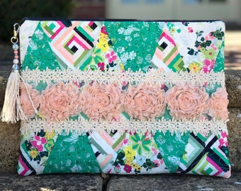 Blush Roses & Green Clutch Purse
