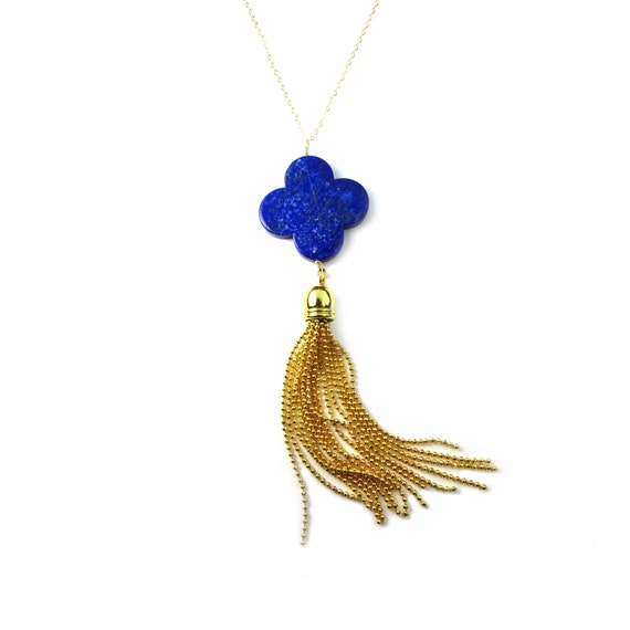 Lapis Clover and Gold Tassel Necklace