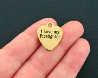 Firefighter Charm Stainless Steel - I Love My Firefighter - Hypoallergenic Gold Plated - Quantity Options  - BFS201GOLD