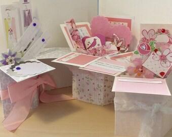 Handmade Wedding or Shower Pop up Exploding Box Card- 2 Variations  left -- Free ship USA