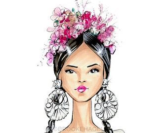 Frida-Frida Kahlo-Fashion Illustration-Brooklit-Brooke Hagel-Naeem Khan-Headdress-floral headdress-flower crown-artist-Mexican