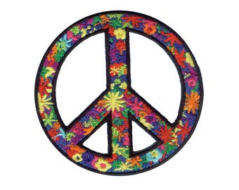 Floral Peace Sign Iron On Applique, Love Iron On Patch, Fun Patch, Peace Sign Patch, World Peace Patch, Peace Applique, Embroidered Patch