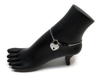 BDSM Locking Anklet, Onyx Locking Slave anklet, Black Slave Anklet, BDSM Anklet Heart Lock, BDSM Jewelry, Onyx Delicate Anklet