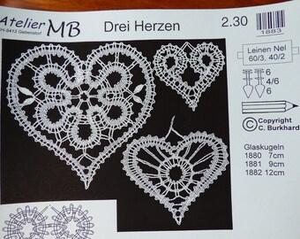 Listing 3 hearts ref ateliermb1883 bobbin lace