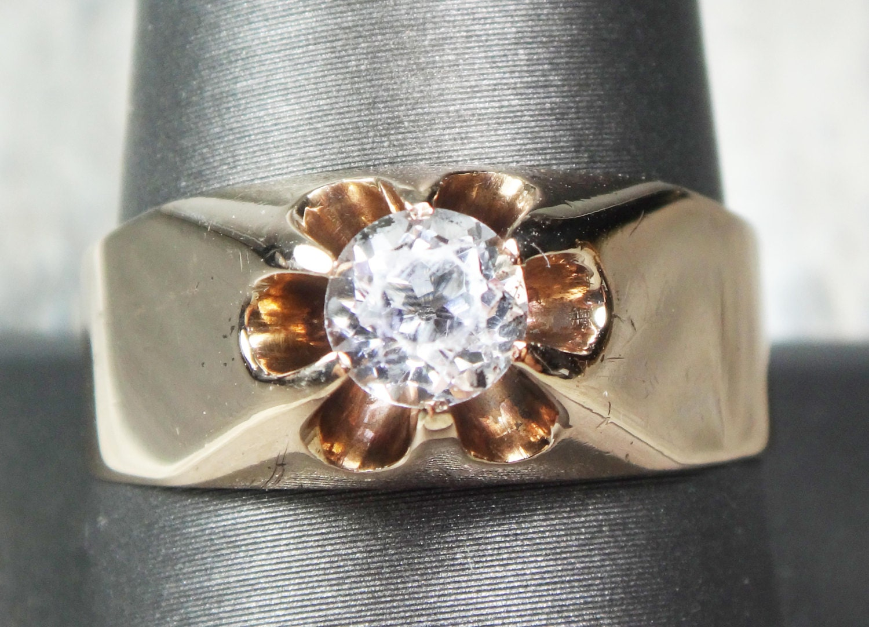 Antique Ring 1800s Mens Ring 10k Gold White Topaz Ring