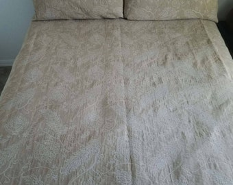 Coverlet, Bedding, Bedroom, Tan, leaves, Sashiko look embroidery, Mock hand embroidery, Cotton bedspread, quilted, lined coverlet