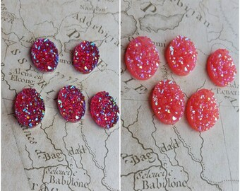 Oval Druzy, Pink Druzy, 18mm Druzy, 18mm Cabochon, 18mm Oval, Resin Druzy, 18mm Pink, Jewellery Druzy, Rose
